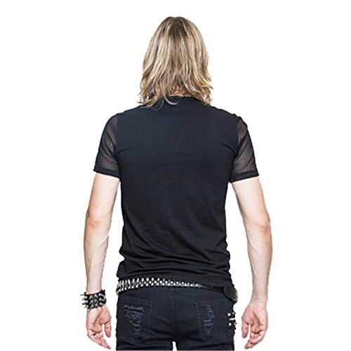 Devil Fashion M?nner Steampunk Perspektive Stitching Kurzarm T-Shirt Gothic Sommer T-Shirt Rundes Kragen Top T-Shirt, 6 Gr??en