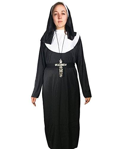 Nun Costume by Rubber Johnnies, Valak, Habit, Clerical, (One size 4-8) Horror Movie