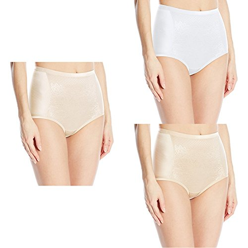 (Vanity Fair Women's  Smoothing Comfort with Lace Brief Panty 13262, Champagne/Star White/Damask Neutral, X-Large/8)