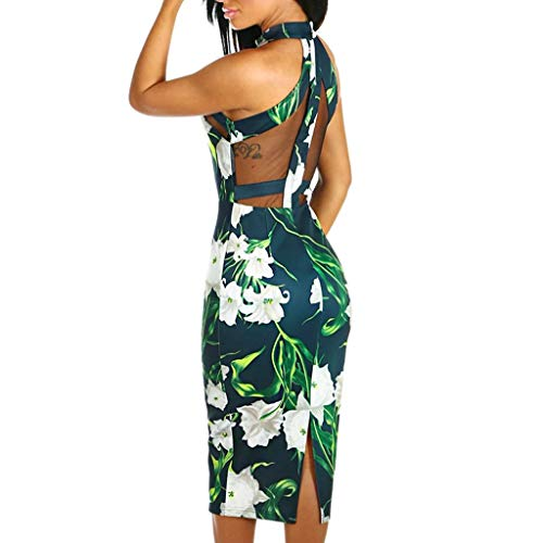 Cold Shouder Dress,Off Shoulder Halter Neck Ruffle Floral Print Bodycon Midi Sundresss Han Shi (Green, XXL)