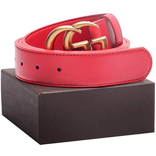 Matte Gold Buckle Red Leather Unisex Fashion Belt for Mens Pants Jeans Shorts ~ 3.8cm Belt Width