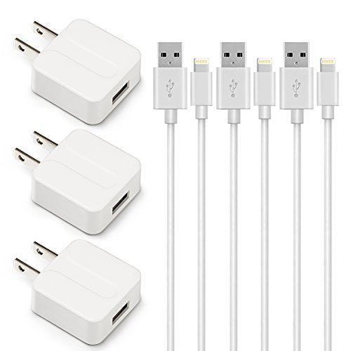 SNX Certified 5W 1A USB Power Adapter with 3'/1 m Lightning to USB Cable - 3 Piece