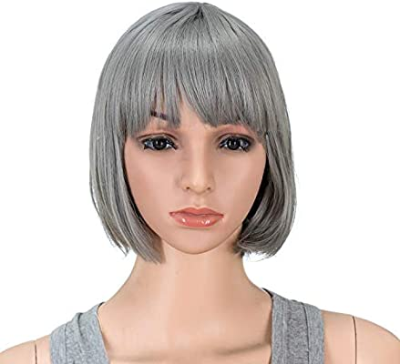 Swacc 10 Inch Short Straight Bob Wig With Bangs Synthetic Colorful Cosplay Daily Party Flapper Wig For Women And Kids With Wig Cap Dark Sliver Gray Buy Online At Best Price In