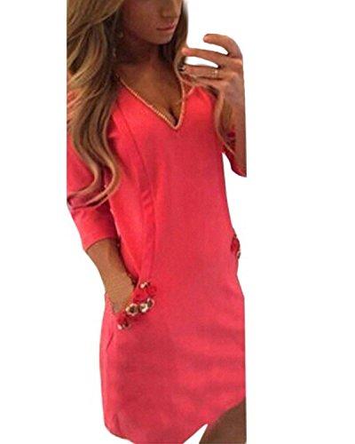 ZANZEA Femme Sexy Col V Mini Robe De Soirée 3/4 Manches Tunique Dress Parti Cocktail Rose FR 42/Etiquette Taille L