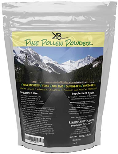 Pine Pollen Powder Wild Harvested - Cracked Cell Wall |Finer Mesh for Max Absorption| Vitamins A & C Amino Acids Support Collagen Production (100 Grams)