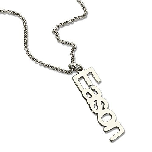 Unique Vertical Name Necklace Personalized Nameplate Necklace Sterling Silver Vertical Charm Special Name Jewelry (Silver 22