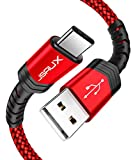 USB Type C Cable,JSAUX(2-Pack 6.6ft+6.6ft) USB A to USB-C Fast Charger Nylon Braided Cord Compatible with Samsung Galaxy S10 S9 S8 Plus Note 9 8,Moto Z Z3,LG V50 G8,Switch,Other USB C Devices(Red)