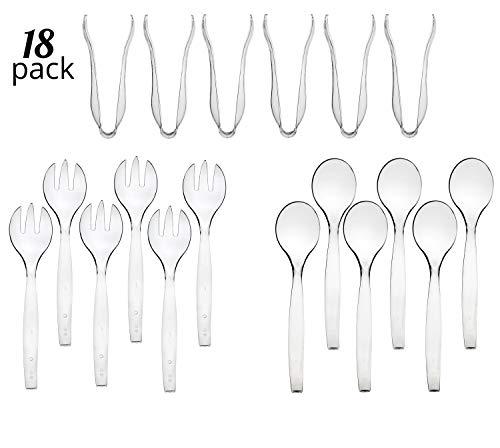 Fork Serving Tongs - Disposable Serving Utensils, Plastic Crystal Clear Serving 10