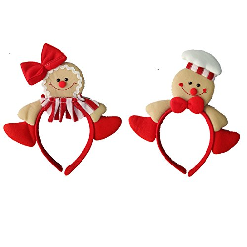 Zerowin Christmas Gingerbread Man Style Hair Hoop Xmas Hair Accessory Headwear Cute Cartoon Headband Christmas Holiday Party Supplies Gifts (Style 1&2) ()