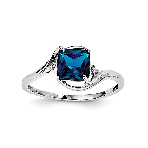 Sterling Silver Rhodium Plated Diamond London Blue Topaz Ring Color H-I, Clarity SI2-I1
