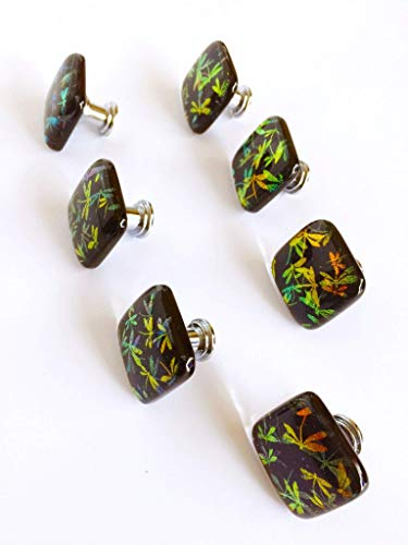 (Dichroic Glass Cabinet Door Knob with Golden Dragonflies over Dark Blue Glass - Fused Glass Pull - Dichroic Glass Accent Tile - Price is for one Knob or Tile -)