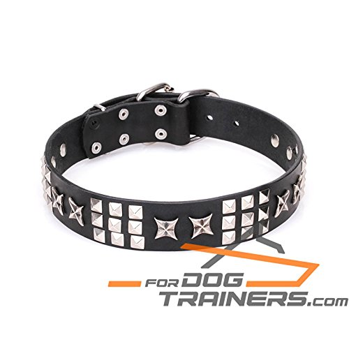 Black fits for 21 inch dog's neck size Black fits for 21 inch dog's neck size 21 inch Black Leather Dog Collar with Chrome Plated Smooth Pyramids and Old Silver-Like Stars 'Celestial Radiance' 1 1 2 inch (40mm) wide