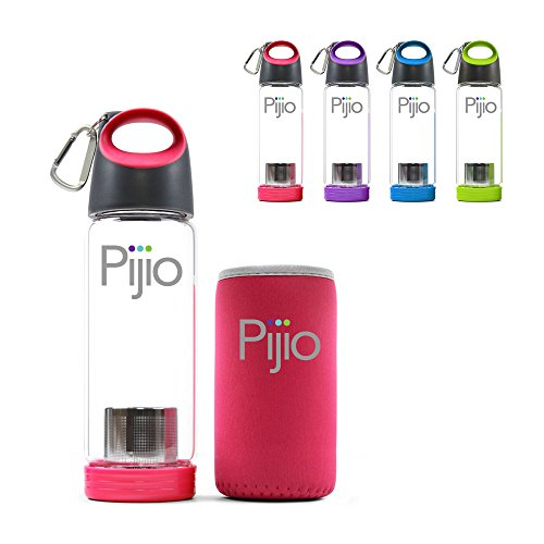 Pijio Insane Sale Tea Infuser (Loose), Fruit Infusion, Cold Brew Coffee Maker, Infused Borosilicate Glass Water Bottle Mug. Best Travel & Sports, BPA Free (500ml 17oz) (Pink)