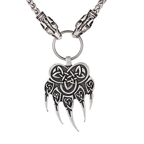 Head Bear Pendant (Vikings Wolf Head Scandinavian Celtic Knots Bear Paw Claws Wildlife Amulet Pendant Necklace + Gift Pouch)