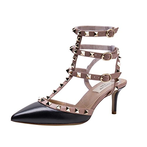 Kaitlyn Pan Women's Leather Pointed Toe Studded Strappy Slingback Kitten Pumps Black Matte/Nude Trim/Gold Studs E9ZKU