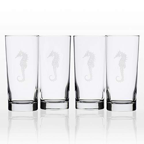Rolf Glass Seahorse Highball Glass, 15 Ounce, Set of 4