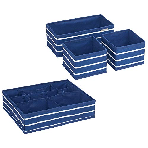 (InterDesign ID jr Fabric Storage Set with Compartments for Nursery, Drawers, Closet, Dresser Top, Changing Table - Set of 4, Navy/White IDjr Rugby 4-Piece Accessory Organizer,)