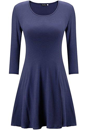 kormei mujeres Casual 3/4Sleeve Slim Fit cuello redondo Llanura Túnica Vestido Largo Azul