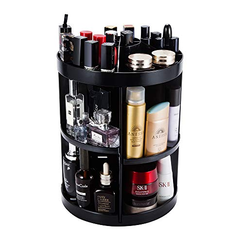 JADREAM Rotating Makeup Organizer, Black 6 layers adjustable Large Makeup Organizer