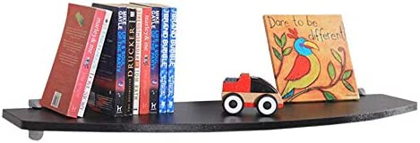 Rxbdk-CD·DVDy夕 フローティングフレームセットトップボックス木製棚E1環境保護ボードカーブしたデザイン、2色 簡単に清掃する (色 : 黒, サイズ さいず : 60*24*1.6cm)