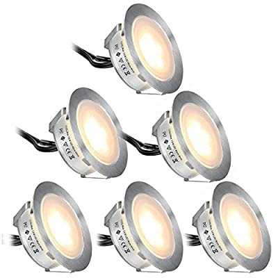 SMY 6 Pack Upgrade Version Recessed LED Deck Light Kits,High Bright in Ground Outdoor Landscape LED Lighting Waterproof IP67, 12V Low Voltage Warm White