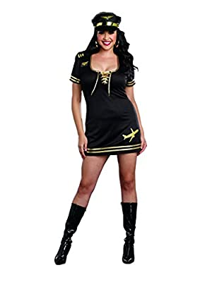 Dreamgirl Women's Plus-Size Service with A Smile Flight Captain Costume