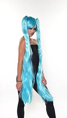 Hatsune Miku Aqua Blue COSPLAY Wig w detachable pigtails 54600 (Miku Hatsune Halloween)
