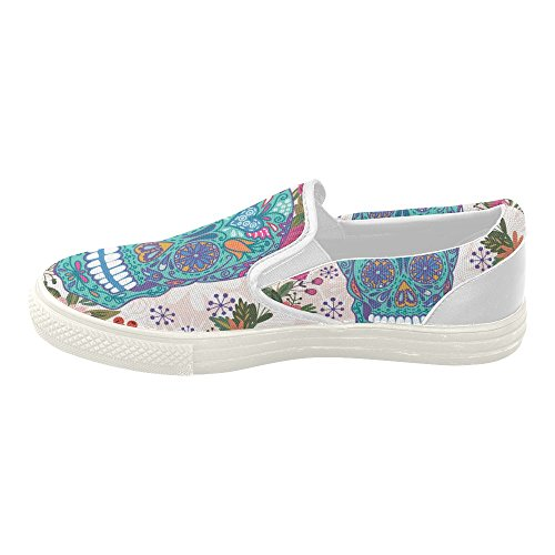 Women's Sugar Skull Dia De Los Muertos Slip-on Canvas Fashion Sneakers Shoes (Morphsuits For Women)