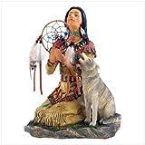 Wolf Priestess Statue Native Decorative Southwest Home