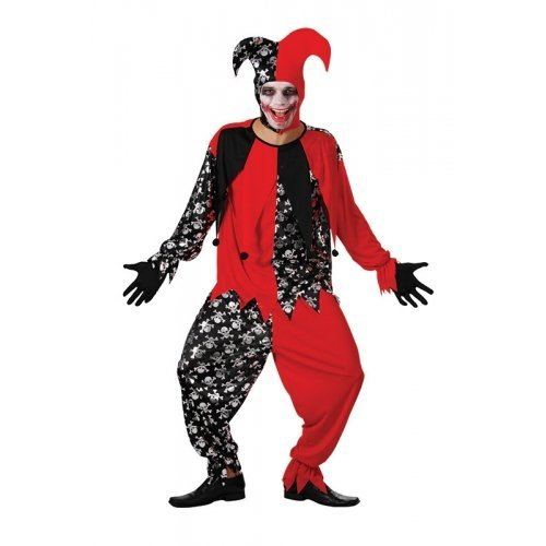 Jester Costume Party City (Evil Jester Halloween Fancy Dress Costume - One Size by Parties Unwrapped)