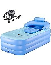 WBHome Inflatable Bath Tub PVC Portable Bathtub for Adult Bathroom SPA with Electric Air Pump, Blue