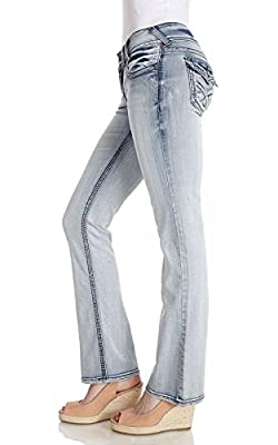 WallFlower Women's Juniors Luscious Curvy Bootcut Jean