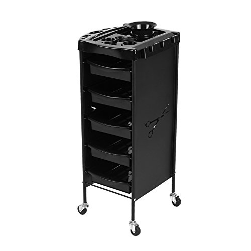 Anself Salon Tray Cart Trolley Hair Rolling Cart Barber Hairdressing Storage Cart Drawers (Trolley 1)