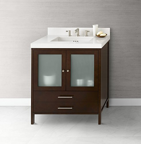 RONBOW Juno 30 Inch Bathroom Vanity Base Cabinet with Soft Close Frosted Glass Door and Cabinet Drawer in Dark Cherry 039230-1-H01 -