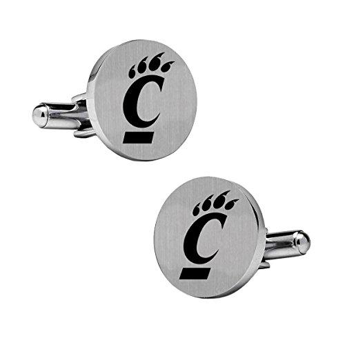 College Jewelry Cincinnati Bearcats Cufflinks | Stainless Steel Round Cufflinks ()
