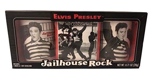 (Elvis Presley Jailhouse Rock 2 Mugs and 1 Hot Cocoa Nestle Mix Gift Set)