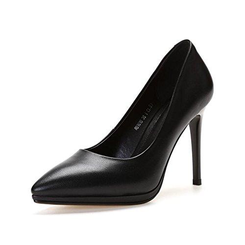 Profond Femelle Peu Eu36 Avec 5 Taille Black Unique couleur Chaussure Cjc Sauvage Cuir Bouche Bien Black Pointu uk3 zSExq8