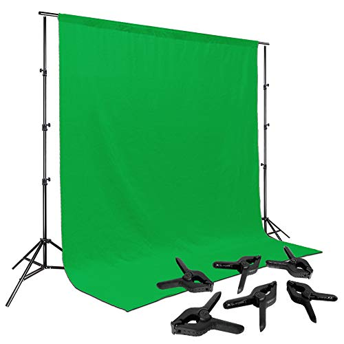 LimoStudio Photo Video Studio 10 ft. Adjustable Muslin Backdrop Support System with Green Background Muslin & Support Clamp, Backdrop Stand & Cross Bar, Solid Stable Structure, Photo Studio, AGG2063