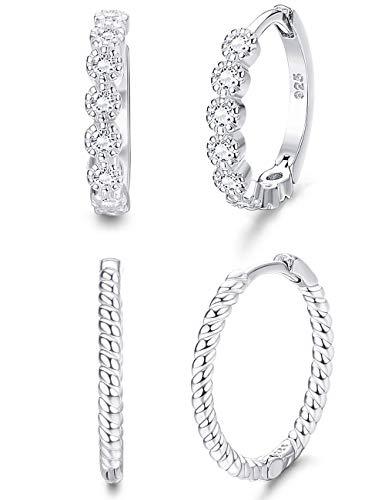 Milacolato 2Pairs Sterling Silver Small Hoop Earrings for Women Cubic Zirconia Huggie Stud Cartilage Helix Cuff Earrings