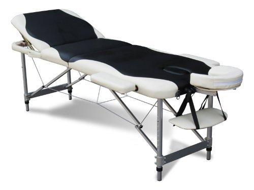 456acae5ca4e FoxHunter Luxury Portable Lightweight Massage Table Beauty Couch Therapy Bed  Folded 3 Section Aluminium Frame Black White with Headrest Armsupport  Carrying ...