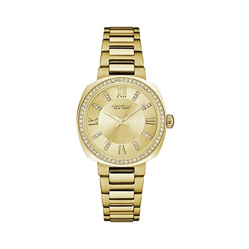 Caravelle New York Women's Quartz Watch with Stainless-Steel Strap, Gold (Model: 44L225)