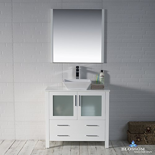 BLOSSOM 001-36-01-1616V Sydney 36'' Vanity Set with Vessel Sink and Mirror Glossy White by Blossom