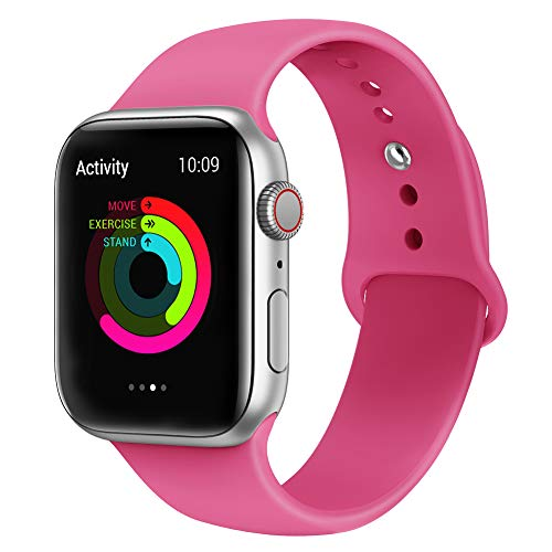 AdMaster Silicone Compatible for Apple Watch Band and Replacement Sport iwatch Accessories Bands Series 4 3 2 1 Barbie Pink 38mm/40mm S/M