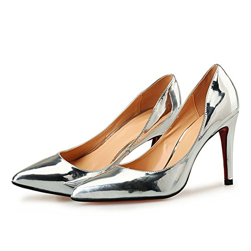 Stiletto Club High Comfort Pump Pump Night Women's Heel and Dress Silver Men's Patent A Party 7nqWTE0Ixv