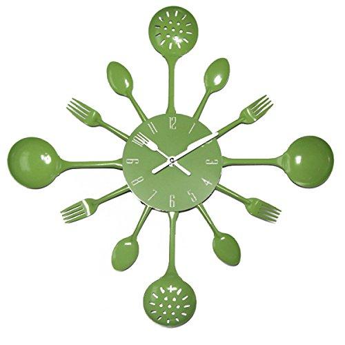 UNIQUEBELLA Metal Kitchen Cutlery Utensil Wall Clock Spoon Fork Home Decor Wanduhr horloge murale Green