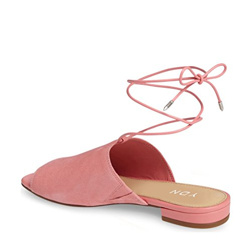 Ydn Vrouwen Lace Up Suede Flat Muilezels Lage Hak Peep Toe Slippers Comfortabele Wandelschoenen Roze