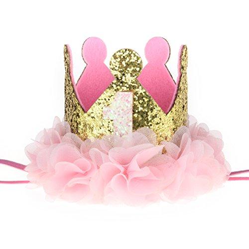 Love Sweety Baby Rose Flower Golden Crown Birthday Headband Hair Accessories (Chiffon Flower 1)