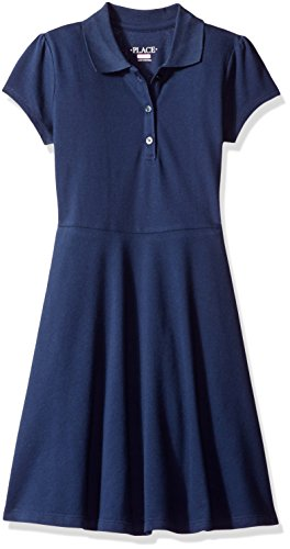 The Children's Place Big Girls' Uniform Short Sleeve Polo Dress, Tidal 44393, Large/10/12 (Uniform School Dress)