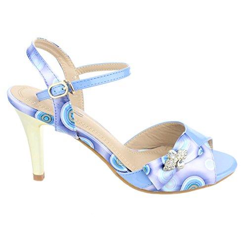 Aarz señoras de las mujeres de la tarde de la boda de tacón Sandalias Fiesta fin de curso nupcial zapatos Tamaño (beige, gris, azul) Azul