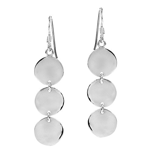 Triple Round Shiny Disc Drop .925 Sterling Silver Dangle (Sterling Silver Textured Disc)